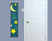 Personalized Growth Chart - Baby Gift Idea - Growth Chart - Personalized Nursery Decor - Stars Nursery Decor - Moon and Stars Growth Chart