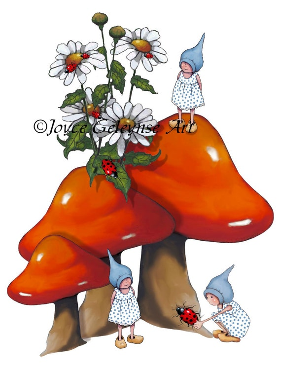 Gnome Clip Art: Items Similar To Toadstools And Gnomes Clipart, Hand Drawn