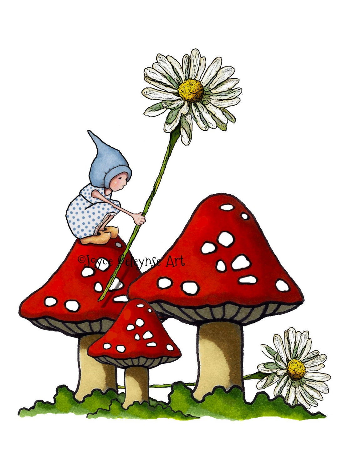 Gnome Clip Art: Clipart Hand Drawn Printable Gnome Girl On Toadstool Daisies