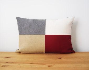 Wine Color Block Pillow Cover, 12x18 Modern Lumbar Pillow Cover