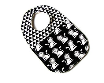 black and white lion bib for baby or toddler organic sherpa
