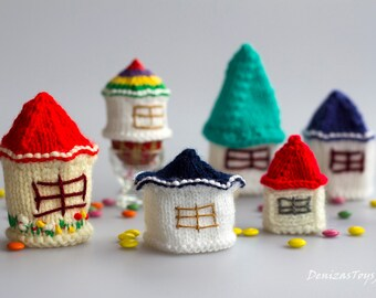 Small Easter Houses. Egg cozy.  - 7  different pdf knitting patterns.  Knitted in the round. Easter patterns. Cozy home