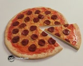 "Pepperoni pizza for dolls - 1:3 scale polymer clay play food for SD BJDs, My Twinn, 18"" girl dolls, etc."