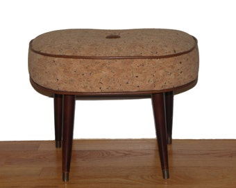 Retro Reupholstered Cork and Leather Stool