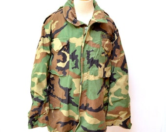 90s Air Force Army Camouflage Jacket Heavy Thick Long Size Medium