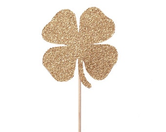 Gold Shamrock Cupcake Toppers, Saint Patrick's Day Cupcake Toppers, Shamrock Party Picks, Gold Shamorck Party Picks, Gold Irish Party