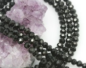 Lot of 5 strands 6mm Jet Black Chinese Glass Round Loose Spacer Beads 98 beads/strand (BH5356)