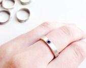2 mm Amethyst Flush Set in Sterling Silver Ring