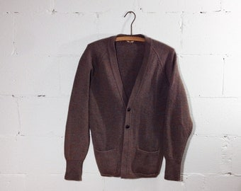 Vintage Pure Wool Button Down Cardigan in Fawn Brown with Pockets / All Wool British Made / Boyfriend Cardigan / Large Brown Knit Sweater