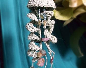 Crochet Lace Jellyfish Earrings - Seafoam