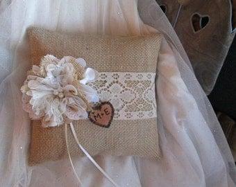 Personalized Ring Bearer Pillow - Burlap and Lace Wedding - Rustic Wedding Pillow - Burlap Pillow -Ring Bearer -Barn Wedding -Summer Wedding