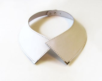 Leather Collar Necklace, White collar necklace with metal corners