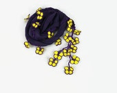 Purple Scarf , Cotton cowl with crochet yellow  oya flowers ,  Womens foulard ,purple  scarflette, Cotton neck scarf, gift  her