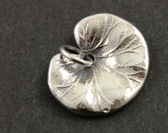 Sterling Silver, Lotus Leaf Charm / Pendant with Open Jump Ring, 1 Piece, (SS/CH4/CR89)