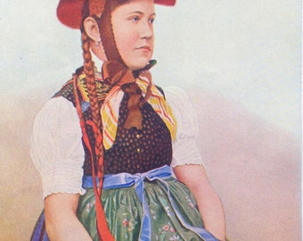 1920s GERMANY BAVARIA PEASANT Doublesided Lithograph Print