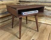 Boxer mid century modern end table or side table, black walnut with tapered wood legs.