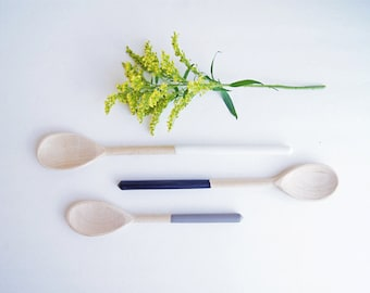 Wooden Spoons Set of Three by Wind and Willow Home, white, black, grey, rubber dipped wooden spoon, wedding gift,  hostess gift