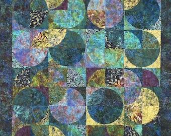 "Eclipse Batik Quilt Kit, Sandy Brawner for Quilt Country,  74"" x 90"", DIY Batik Fabrics"
