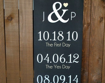 Wedding Sign, Personalized Wedding Gift, Engagement Gift, Anniversary Gift, Date Sign, Important Date Custom Wood Sign -