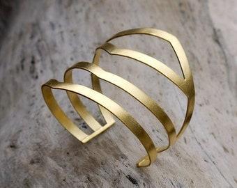 Gold cuff bracelet, brass cuff bracelet, wide cuff, large cuff, gold bracelet, brass bracelet, gold plated cuff, statement cuff