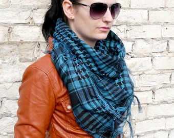 Blue Plaid Scarf / Blanket Scarf / Oversized Scarf / Cotton Scarf / Gift For Her / Cotton Plaid Scarf / Summer Sale / Gift idea