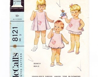Vintage 60s Toddler Dress, Angel Top, Bloomers, Bubble Romper, Duck Applique