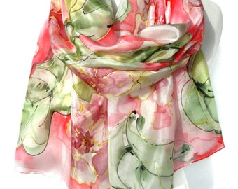 Hand Painted Silk Scarf. Anniversary Birthday Gift for Her. Genuine Silk Art. Silk Painting. Pink Green Scarf. 18x71in MADE to ORDER