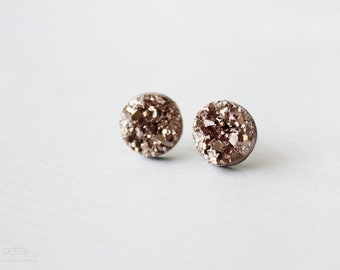 rose gold rocks - faux druzy studs - minimalist, modern rose gold jewelry / gift for her