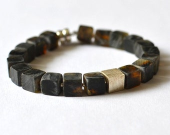 Amber bracelet / Black Baltic Amber Jewelry / silver magnetic clasp