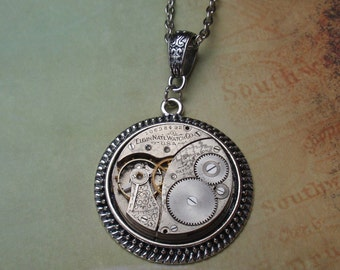 Steampunk Necklace, Stunning Elgin Timepiece, Exquisite Floral Etchings, Circa 1903,