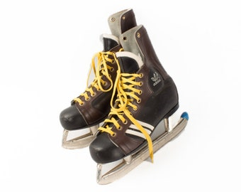Vintage Adidas Leather Ice Skates / Retro Brown Black Leather Skates Mens Size 45.5 EU - 11.5 US / Retro Industrial Home Decor