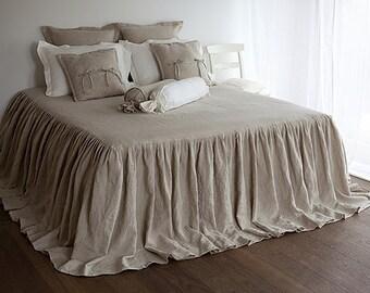 Linen coverlet - Bed COVERLET - linen bed cover - linen bed skirt - ruffled bedspread - linen bedspread - grey bedspread - ruffled coverlet