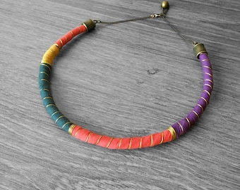 Bib choker Necklace . Ethnic Tribal Choker Necklace.