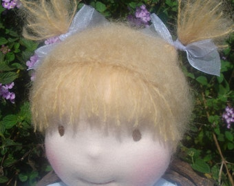 """Waldorf Doll, Smocked Light Blue Dress, 15.5"""" tall girl doll, Handcrafted from Natural Materials, Free Shipping, waldorf inspired"""