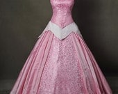 Sleeping Beauty Aurora Rose Brocade Adult Cosplay Costume Ball Gown Dress