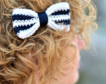Crochet bow barrette, navy blue and white, hair accessory, women, girls, hairgrip