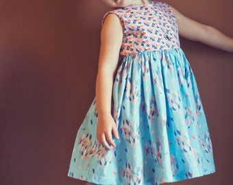 Sweetheart Dress Sewing Pattern Back Heart Cut Out Retro for Girls 2T-6T PDF