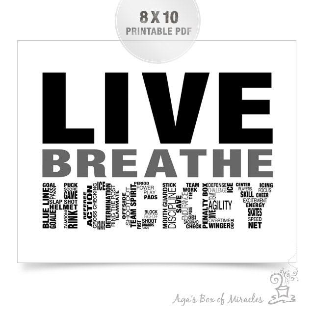 Live Breathe Hockey Printable / Sports Digital File / Boys