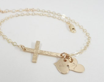 Sideways Cross Bracelet - Gold Filled Initial Hearts - Hand Stamped Mommy Jewelry - Dainty Initial Bracelet