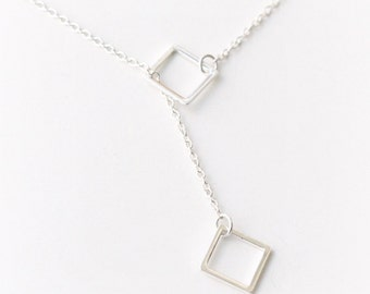 Sterling silver lariat necklace with squares