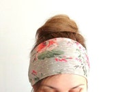 floral beige extra large headband wide bandana coral retro vintage hair style summer beach head covering wide head wrap stretch headwrap