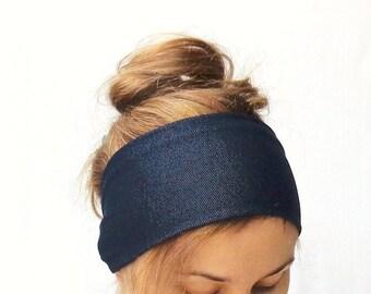wide headband dark blue denim head band headwrap stretch jersey large headband bandana hair wrap