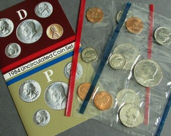 1980s Uncirculated United States Mint Coin Sets, Choice of 1984, 1985, 1986, or 1987 Penny, Nickel, Dime, Quarter, Half Dollar Coins
