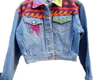 90s Southwestern Funky Jean Jacket