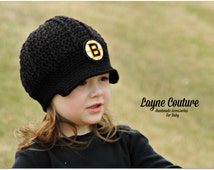 The Original- Crochet Newsboy Hat with Patch / NHL Baby / Hockeyl Baby / Item 1300