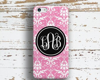 Personalized wedding gift, Monogram Iphone 6 case, Damask Iphone 5c case, Pretty iPhone 6s case, Womens iPhone 5s case, Pink black (9600)