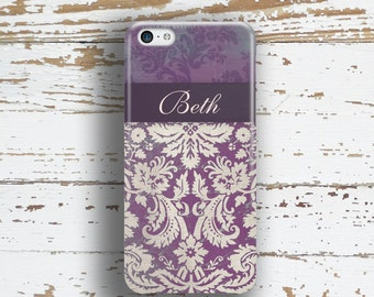 Monogram Gifts for Her, Floral Iphone 5c case, Pretty iPhone 6 + case, Fashion iPhone 6s case, Women's Iphone 5s case, Purple damask  (9698)
