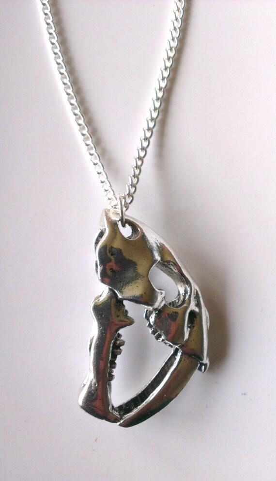 saber tooth tiger skull necklace