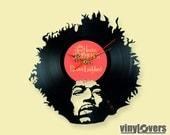 Jimi Hendrix gift wall clock from vinyl record rock unique lsd woodstock handmade