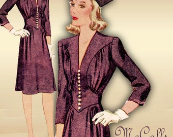 40s 1940s Dress Pattern Swing Era WWII Date Dress Eye Catching Bodice Detail Low V Neckline Size 16 Bust 34 McCall 4530